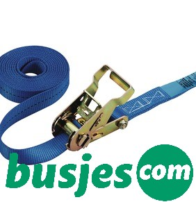 Productafbeelding: Spanband blauw, met ratelgesp en 2x fitting, 25mm x 5000mm